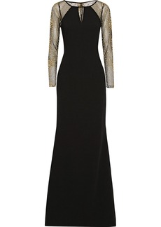 Badgley Mischka Embellished crepe and tulle gown