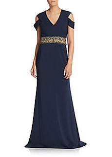 Badgley Mischka Embellished Drape-Sleeve Gown