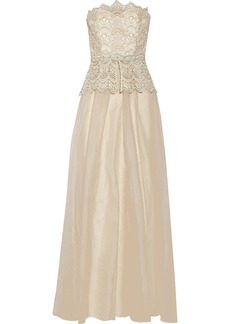 Badgley Mischka Embellished lace and silk-chiffon gown