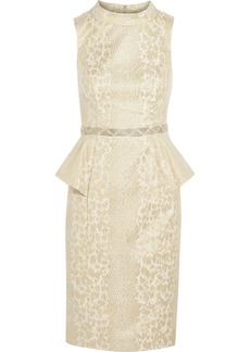 Badgley Mischka Embellished metallic jacquard peplum dress