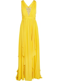 Badgley Mischka Embellished pleated silk gown