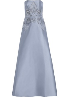 Badgley Mischka Embellished satin-twill gown