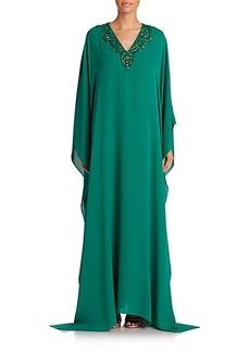 Badgley Mischka Embellished Silk Caftan