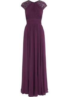 Badgley Mischka Embellished silk-crepe gown