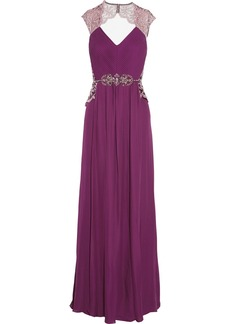 Badgley Mischka Embellished silk-georgette gown