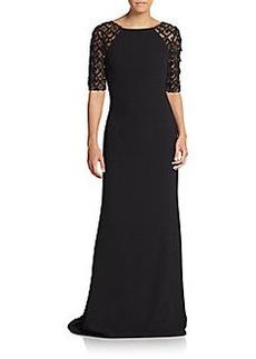 Badgley Mischka Embellished-Sleeve V-Back Gown