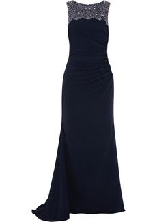 Badgley Mischka Embellished stretch-crepe gown