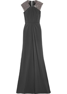 Badgley Mischka Embellished stretch-satin jersey gown