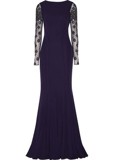 Badgley Mischka Embellished tulle and jersey gown