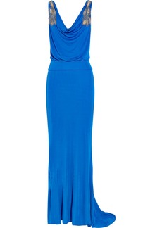 Badgley Mischka Embellished tulle-insert jersey-crepe gown