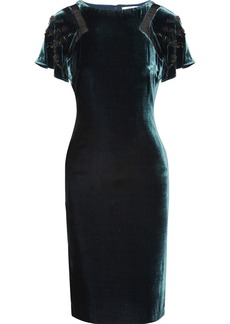Badgley Mischka Embellished velvet dress