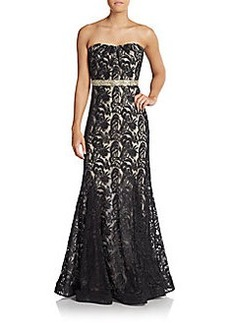 Badgley Mischka Embroidered Lace Strapless Gown