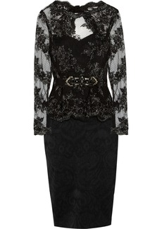 Badgley Mischka Embroidered tulle and jacquard dress