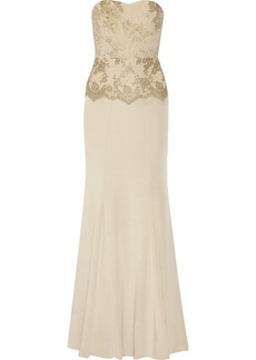 Badgley Mischka Embroidered tulle and silk-blend gown