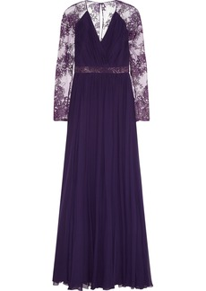 Badgley Mischka Embroidered tulle and silk-chiffon gown