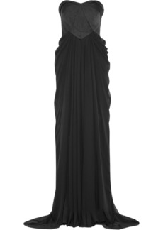 Badgley Mischka Faille and cotton-blend gown