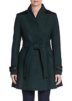 Badgley Mischka Flared Wool-Blend Coat