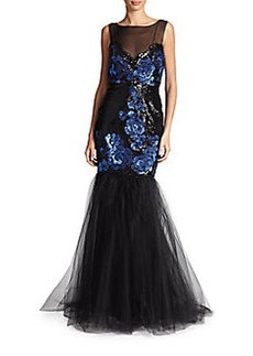Badgley Mischka Floral-Sequin & Tulle Gown