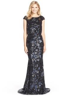 Badgley Mischka Floral Sequin Blouson Gown