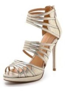 Badgley Mischka Fonda Metallic Strap Sandals