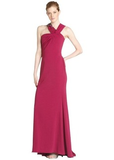 Badgley Mischka fuchsia beaded v-strap gown