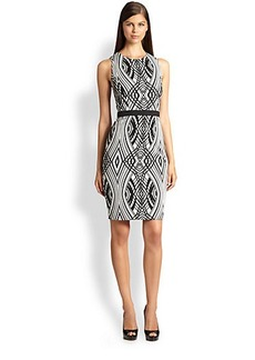 Badgley Mischka Geometric-Print Cocktail Dress