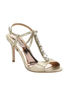 Badgley Mischka gold leather 'Martina II' crystal embellished t-strap sandals