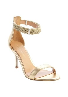 Badgley Mischka gold leather rope and crystal detail heel sandals