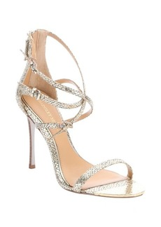 Badgley Mischka gold metallic snake print leather 'Monalisa' strappy sandals