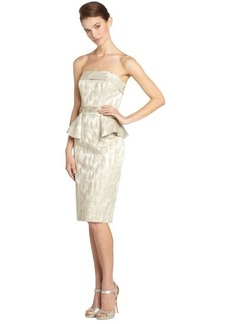 Badgley Mischka gold metallic strapless peplum cocktail dress