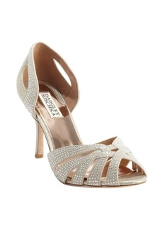 Badgley Mischka gold nylon crystal studded 'Tatiana' pumps
