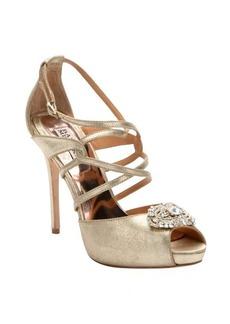 Badgley Mischka gold satin embellished 'Fisher II' strappy heels