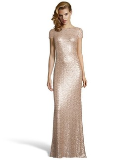 Badgley Mischka gold sequined cowl back evening gown