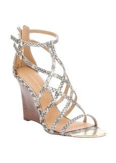 Badgley Mischka gold snake print leather 'Mora' wedge sandals
