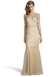 Badgley Mischka gold tulle beaded illusion neck evening gown