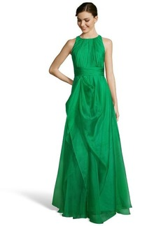 Badgley Mischka green organza draped side slit ball gown