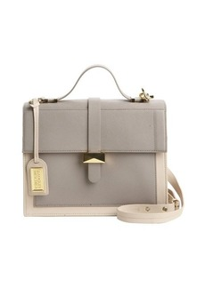Badgley Mischka grey and latte leather 'Lena' convertible satchel