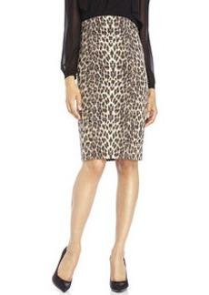 BADGLEY MISCHKA High Waist Leopard Print Pencil Skirt