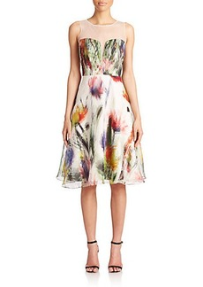 Badgley Mischka Illusion Floral Silk Cocktail Dress