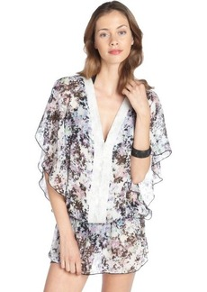 Badgley Mischka ivory multi-color stretch 'Fiona' floral pattern beaded detail tunic