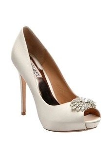 Badgley Mischka ivory sateen 'Finn' crystal detail stiletto pumps