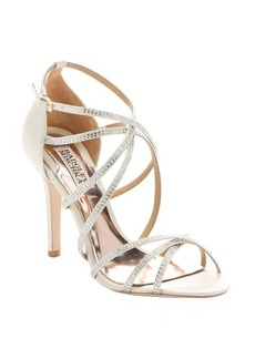 Badgley Mischka ivory sateen 'Meghan' crystal embellished evening sandals