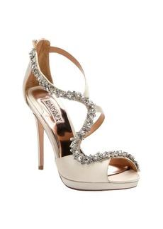 Badgley Mischka ivory satin crystal encrusted strappy heel 'Flair' sandals