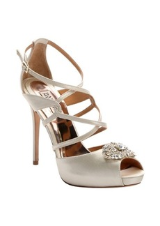 Badgley Mischka ivory satin embellished 'Fisher' strappy heels