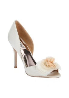 Badgley Mischka ivory satin 'Ginseng' flower detail open toe d'orsay pumps
