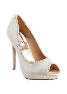 Badgley Mischka ivory satin rope detailed 'Lottie II' peep toe pumps