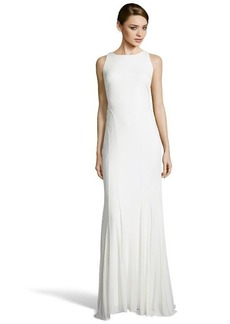 Badgley Mischka ivory stretch jersey draped open back evening gown
