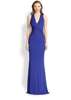 Badgley Mischka Jersey Twist Waist Gown