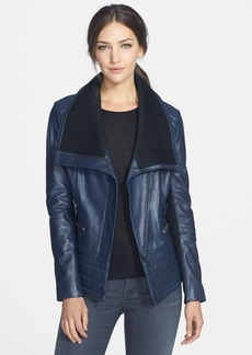 Badgley Mischka 'Kaya' Knit Collar Leather Biker Jacket