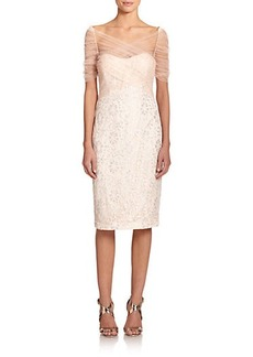 Badgley Mischka Lace & Tulle Cocktail Dress